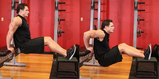 Обратные отжимания: ноги на скамье