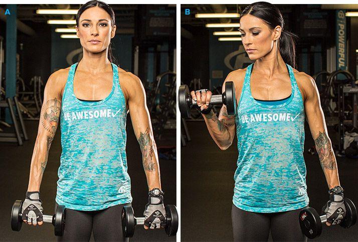 Сгибание рук с гантелями обратным хватом Упражнение допускается выполнять как с поочередной тягой гантелей, так и с одновременной.